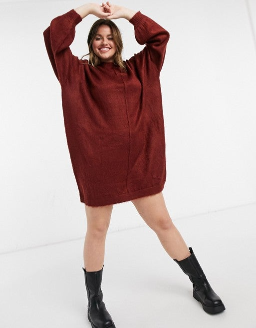 ASOS DESIGN Curve Dress With Brushed Yarn in Dark Red