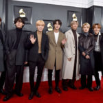 My Celebrity Life – BTS star Jungkook far left has revealed a new look after giving himself a makeover Picture AxelleBauerGriffinFilmMagic