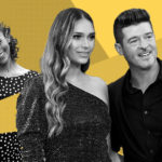 My Celebrity Life – Robin Thicke right found therapy helpful with ex Paula Patton right and fiancee April Love Geary centre Picture Rex