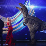 My Celebrity Life – Holly was attacked by the fake dinosaur on Sundays show Picture Matt FrostITVREX