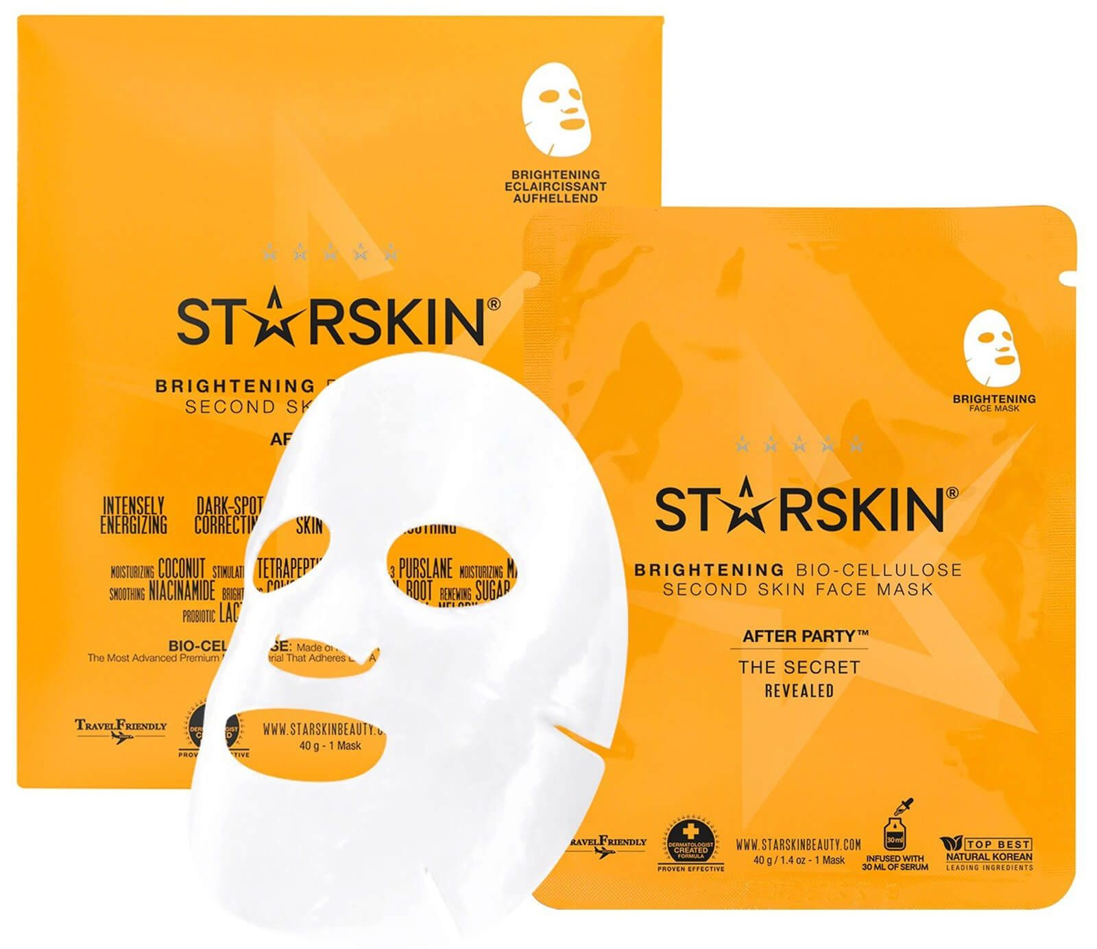 My Celebrity Life – Starskin After Party Coconut BioCellulose Second Skin Brightening Face Mask