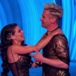 My Celebrity Life – Faye Brookes and Matt Evers celebrate their perfect score Picture ITV