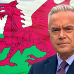 My Celebrity Life – Huw Edwards shared a snap of himself in front of a Welsh flag Picture Twitterhuwbbc