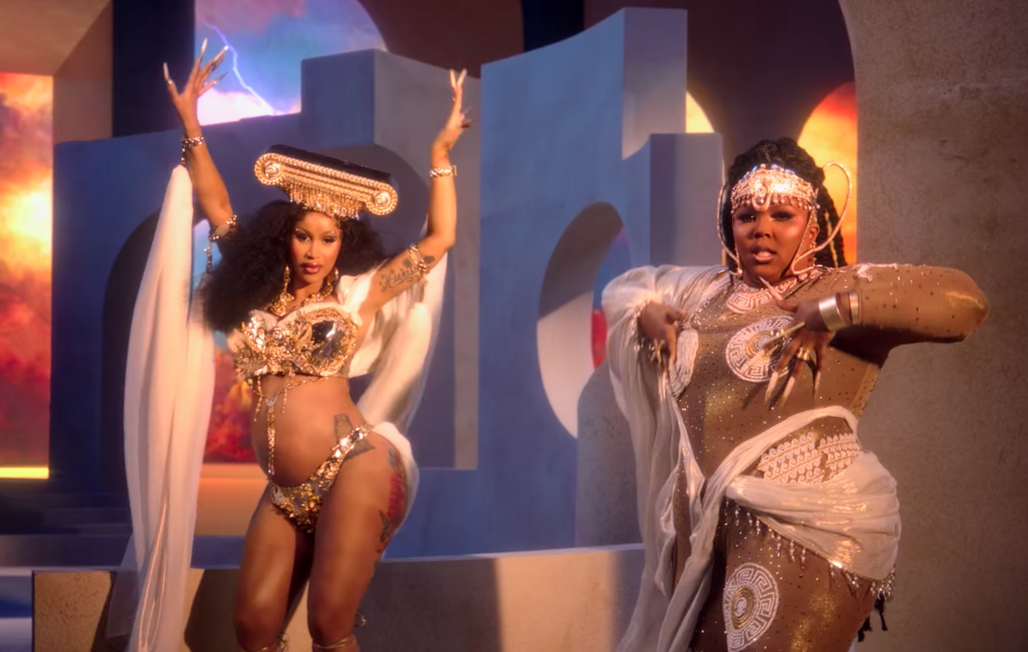 Cardi B and Lizzo in the video for 'Rumors'