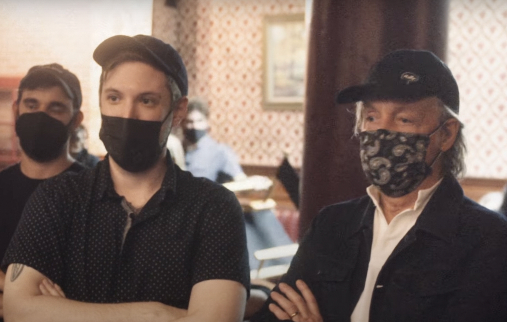 Paul McCartney (right) and Andrew Donaho (left) on the set of McCartney's 'Find My Way' video